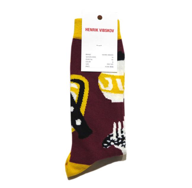 """画像2: E) HENRIK VIBSKOV """"Osteria Socks"""" color : Bordeaux size FREE"""