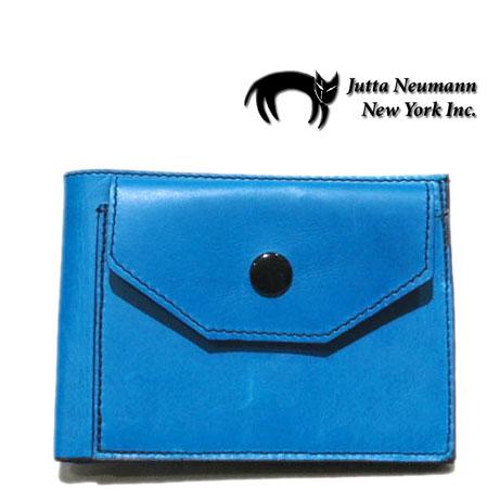"""画像1: """"JUTTA NEUMANN"""" Leather Wallet with Change Purse   color : Turquoise / Yellow"""