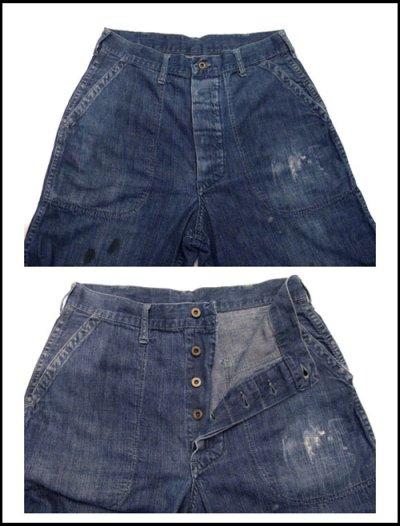 """画像1: 1940's """"US NAVY"""" Denim Baker Trousers size w 31 inch 月桂樹ボタン"""