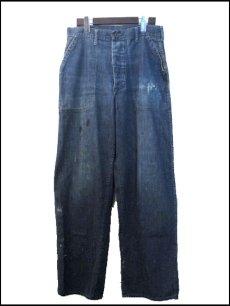 """画像1: 1940's """"US NAVY"""" Denim Baker Trousers size w 31 inch 月桂樹ボタン (1)"""
