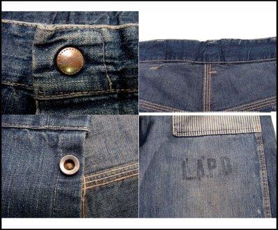 """画像2: 1950's """"L.A.P.D."""" Prisoner Denim Trousers size w 33 inch"""