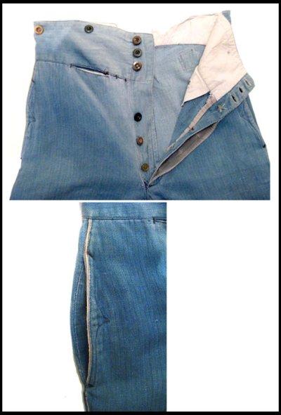 """画像3: 1900's ~ Early 20th Century French """"Fireman Trousers"""" Cotton/Linen Herringbone Twill w 32"""