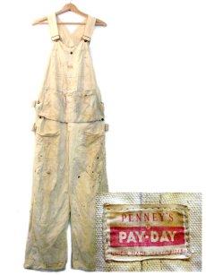 """画像1: 1950's PENNEY'S """"PAY-DAY"""" WHITE DUCK Overall with Apron (1)"""