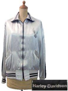 画像1: 1980's HARLEY-DAVIDSON Satin Zip Up  Jacket SILVER size S (表記XS) (1)