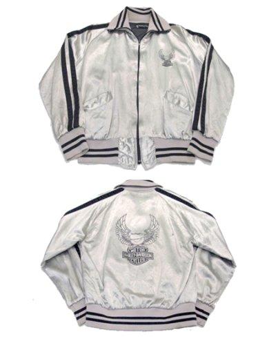 画像1: 1980's HARLEY-DAVIDSON Satin Zip Up  Jacket SILVER size S (表記XS)