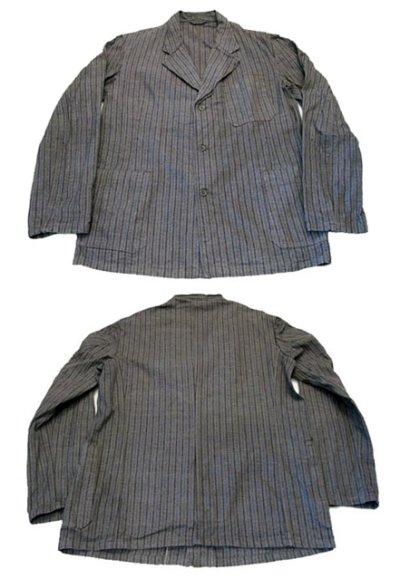 画像1: 1940's~ Swedish Cotton Stripe Prisoner Jacket size L (表記なし)