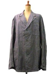 画像1: 1940's~ Swedish Cotton Stripe Prisoner Jacket size L (表記なし) (1)