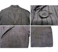 画像4: 1940's~ Swedish Cotton Stripe Prisoner Jacket size L (表記なし) (4)