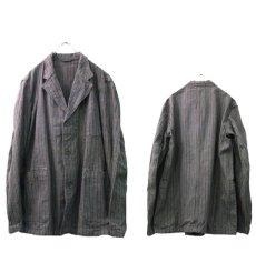 画像2: 1940's~ Swedish Cotton Stripe Prisoner Jacket size L (表記なし) (2)