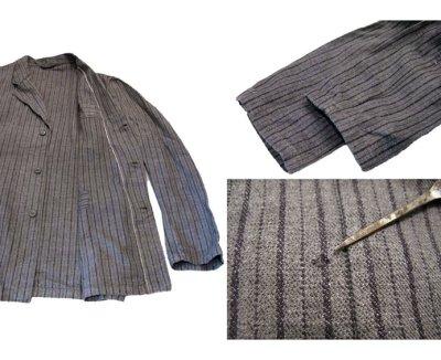 画像3: 1940's~ Swedish Cotton Stripe Prisoner Jacket size L (表記なし)