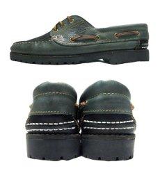 画像2: 1980's made in Italy Two-Tone Leather Deck Shoes GREEN / BLACK size 9 (2)