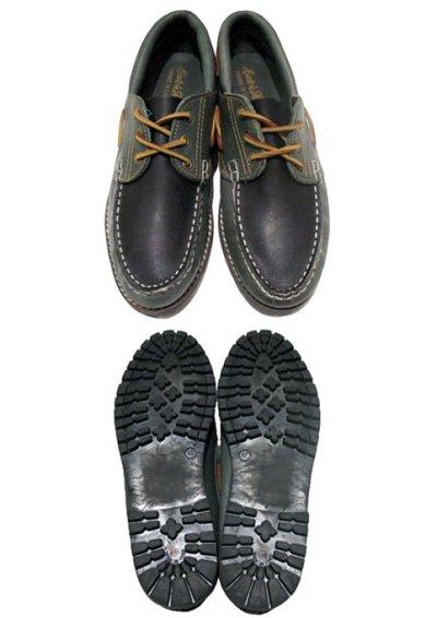画像1: 1980's made in Italy Two-Tone Leather Deck Shoes GREEN / BLACK size 9