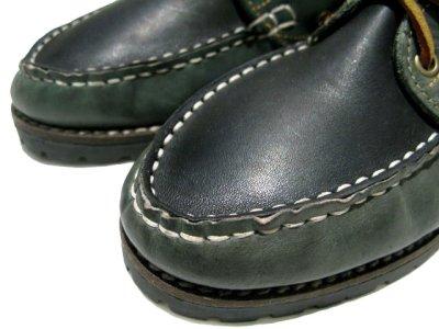 画像3: 1980's made in Italy Two-Tone Leather Deck Shoes GREEN / BLACK size 9