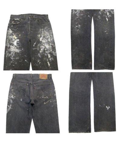 画像1: 1990's Levi's 501 Black Denim Paint Pants made in USA size 31.5 inch (表記 31 x 30)
