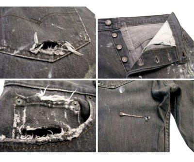画像2: 1990's Levi's 501 Black Denim Paint Pants made in USA size 31.5 inch (表記 31 x 30)