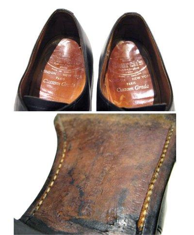 """画像3: OLD """"Church's"""" Straight Tip Leather Shoes made in England BLACK  size 7 E  ( 25-25.5 cm )"""