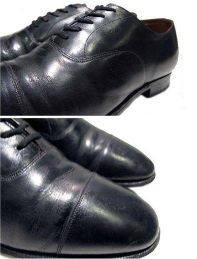 """画像1: OLD """"Church's"""" Straight Tip Leather Shoes made in England BLACK  size 7 E  ( 25-25.5 cm )"""