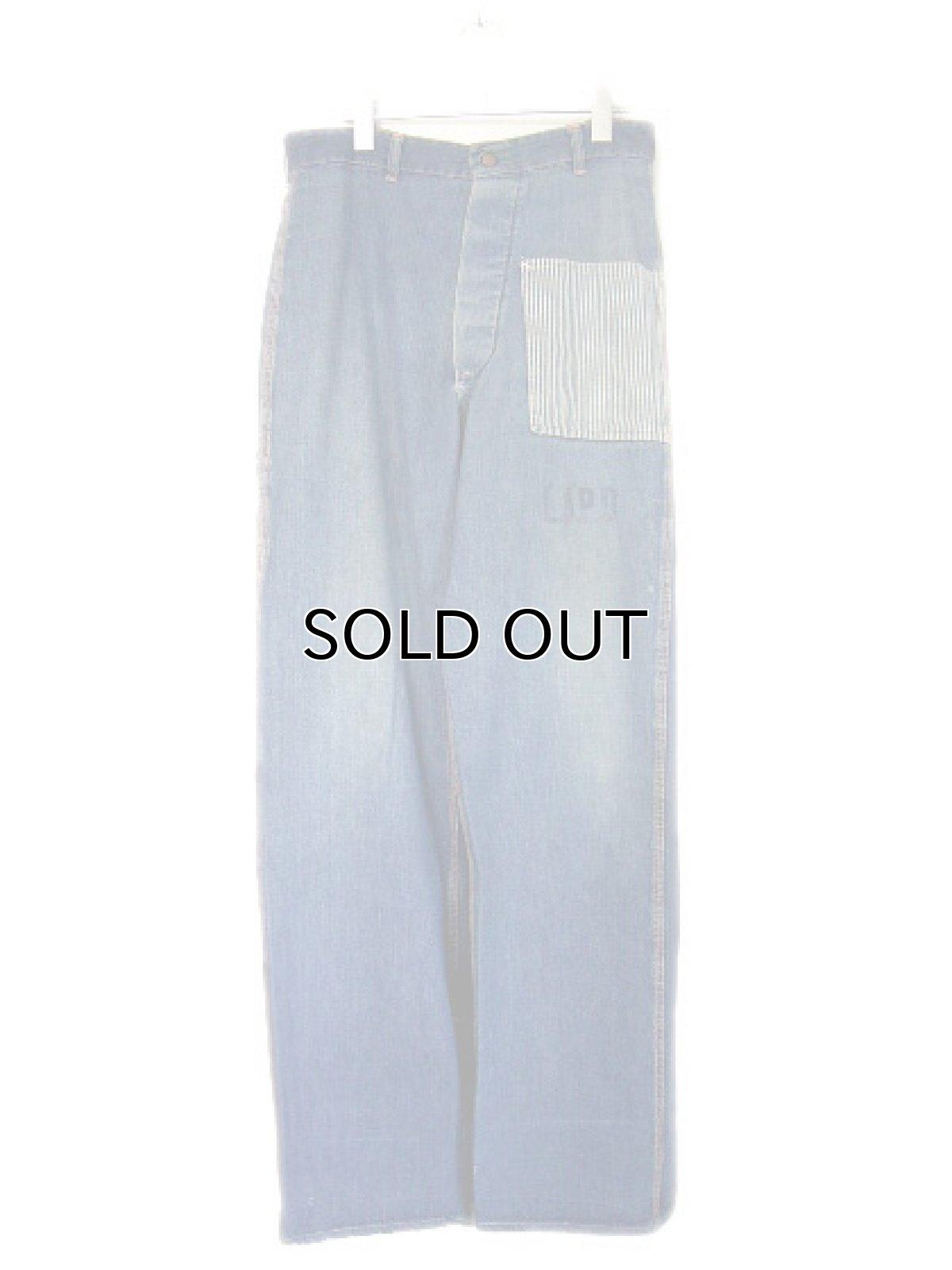 """画像1: 1950's """"L.A.P.D."""" Prisoner Denim Trousers size w 33 inch (1)"""