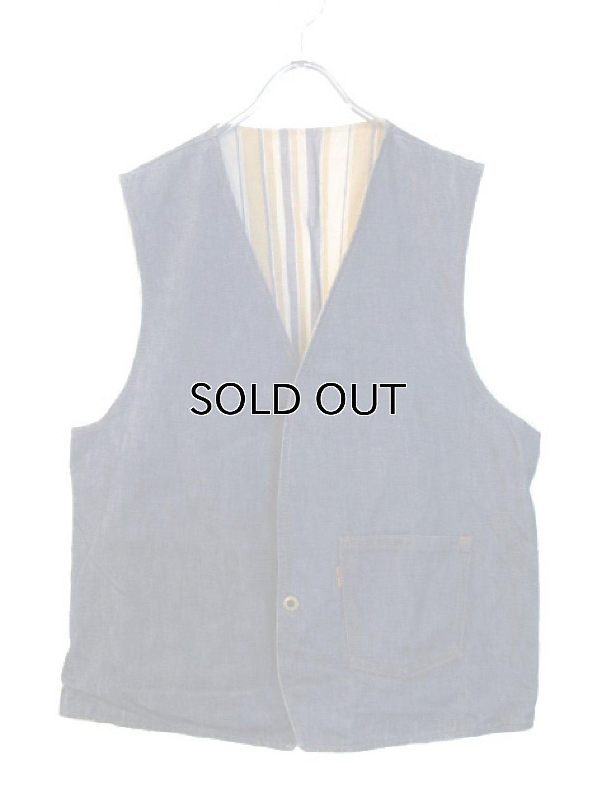 """画像1: 1970's """"LEVI'S"""" Reversible Vest Big """"E"""" DENIM / STRIPE size L  (表記 無し) (1)"""
