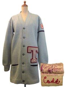 """画像1: 1950's """"ALBION KNITTING MILLS"""" Lettered Cardigan """"LONG"""" GREY GREEN size M - L  (表記 無し) (1)"""