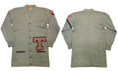 """画像1: 1950's """"ALBION KNITTING MILLS"""" Lettered Cardigan """"LONG"""" GREY GREEN size M - L  (表記 無し)"""