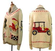 """画像2: 1960's~ """"Classic Car """" Cowichan Sweater size M  (表記 無し) (2)"""