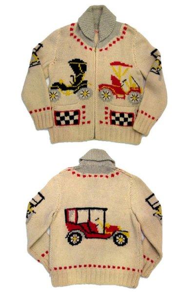 """画像1: 1960's~ """"Classic Car """" Cowichan Sweater size M  (表記 無し)"""