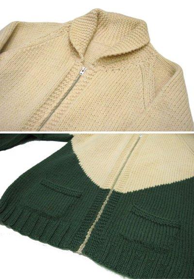 画像1: 1960's~ Two-Tone Cowichan Sweater Natural / Green size XL  (表記 無し)