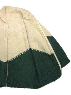 画像4: 1960's~ Two-Tone Cowichan Sweater Natural / Green size XL  (表記 無し) (4)