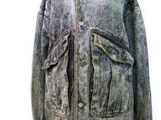 """画像4: 1990's  """"JORDACHE"""" Chemical Wash Design Black Denim Jacket size XL (表記 ) (4)"""