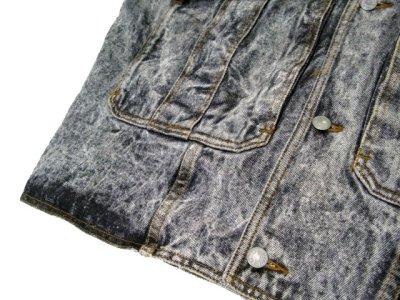 """画像2: 1990's  """"JORDACHE"""" Chemical Wash Design Black Denim Jacket size XL (表記 )"""