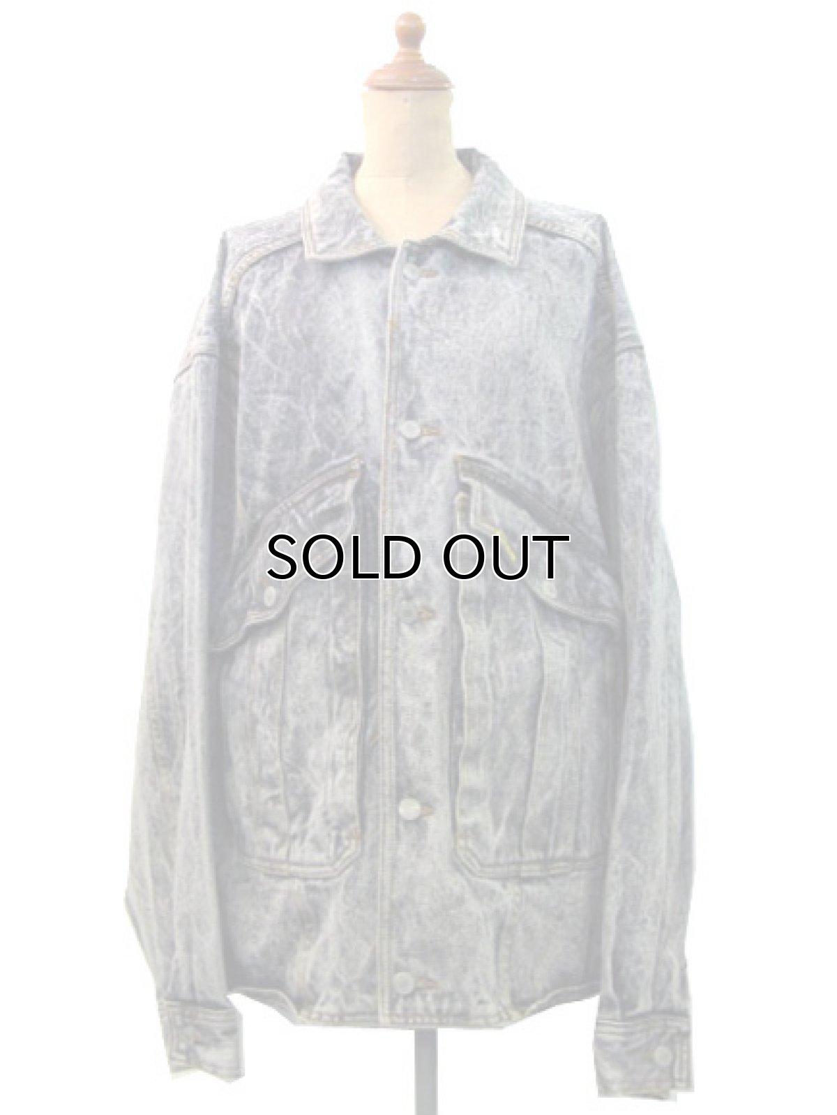 """画像1: 1990's  """"JORDACHE"""" Chemical Wash Design Black Denim Jacket size XL (表記 ) (1)"""