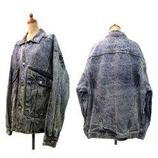 """画像2: 1990's  """"JORDACHE"""" Chemical Wash Design Black Denim Jacket size XL (表記 ) (2)"""