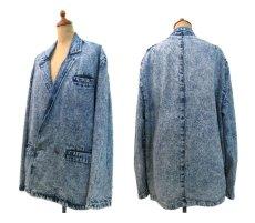 """画像2: 1990's  """"EFLO"""" Double Breasted Chemical Wash Denim Jacket size M (表記 S) (2)"""