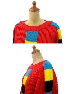 """画像3: 1990's """"VIBES"""" Crew Neck Colorful Line Acrylic Knit Sweater  RED   size  L ~ (表記 L) (3)"""