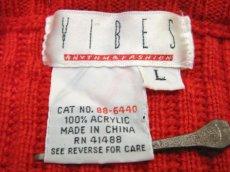 """画像4: 1990's """"VIBES"""" Crew Neck Colorful Line Acrylic Knit Sweater  RED   size  L ~ (表記 L) (4)"""