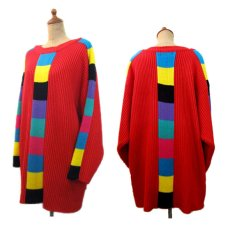 """画像2: 1990's """"VIBES"""" Crew Neck Colorful Line Acrylic Knit Sweater  RED   size  L ~ (表記 L) (2)"""