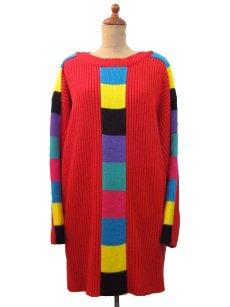 """画像1: 1990's """"VIBES"""" Crew Neck Colorful Line Acrylic Knit Sweater  RED   size  L ~ (表記 L) (1)"""