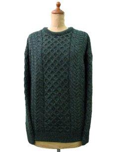 """画像1: """"Carraig Donn"""" Aran Knit Pullover Sweater  DARK GREEN   size  S - M  (表記 S) (1)"""