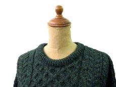 """画像3: """"Carraig Donn"""" Aran Knit Pullover Sweater  DARK GREEN   size  S - M  (表記 S) (3)"""