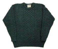 """画像5: """"Carraig Donn"""" Aran Knit Pullover Sweater  DARK GREEN   size  S - M  (表記 S) (5)"""
