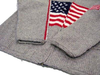 """画像2: """"TEJIDOS"""" 100% WOOL US FLAG ZIP UP KNIT Grey size L (表記なし)"""