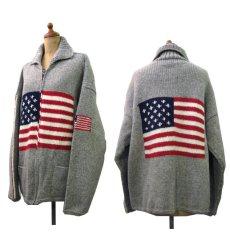 """画像2: """"TEJIDOS"""" 100% WOOL US FLAG ZIP UP KNIT Grey size L (表記なし) (2)"""