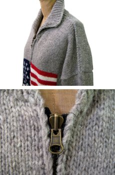 """画像3: """"TEJIDOS"""" 100% WOOL US FLAG ZIP UP KNIT Grey size L (表記なし) (3)"""