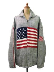 """画像1: """"TEJIDOS"""" 100% WOOL US FLAG ZIP UP KNIT Grey size L (表記なし) (1)"""