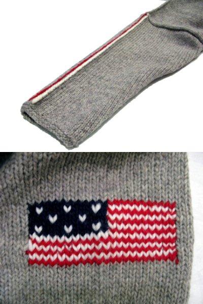 """画像3: """"TEJIDOS"""" 100% WOOL US FLAG ZIP UP KNIT Grey size L (表記なし)"""