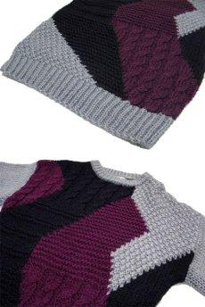 """画像4: 1980's """"FORUM"""" Design Pullover Sweater  GREY/BLACK/PURPLE size L (表記 M) (4)"""