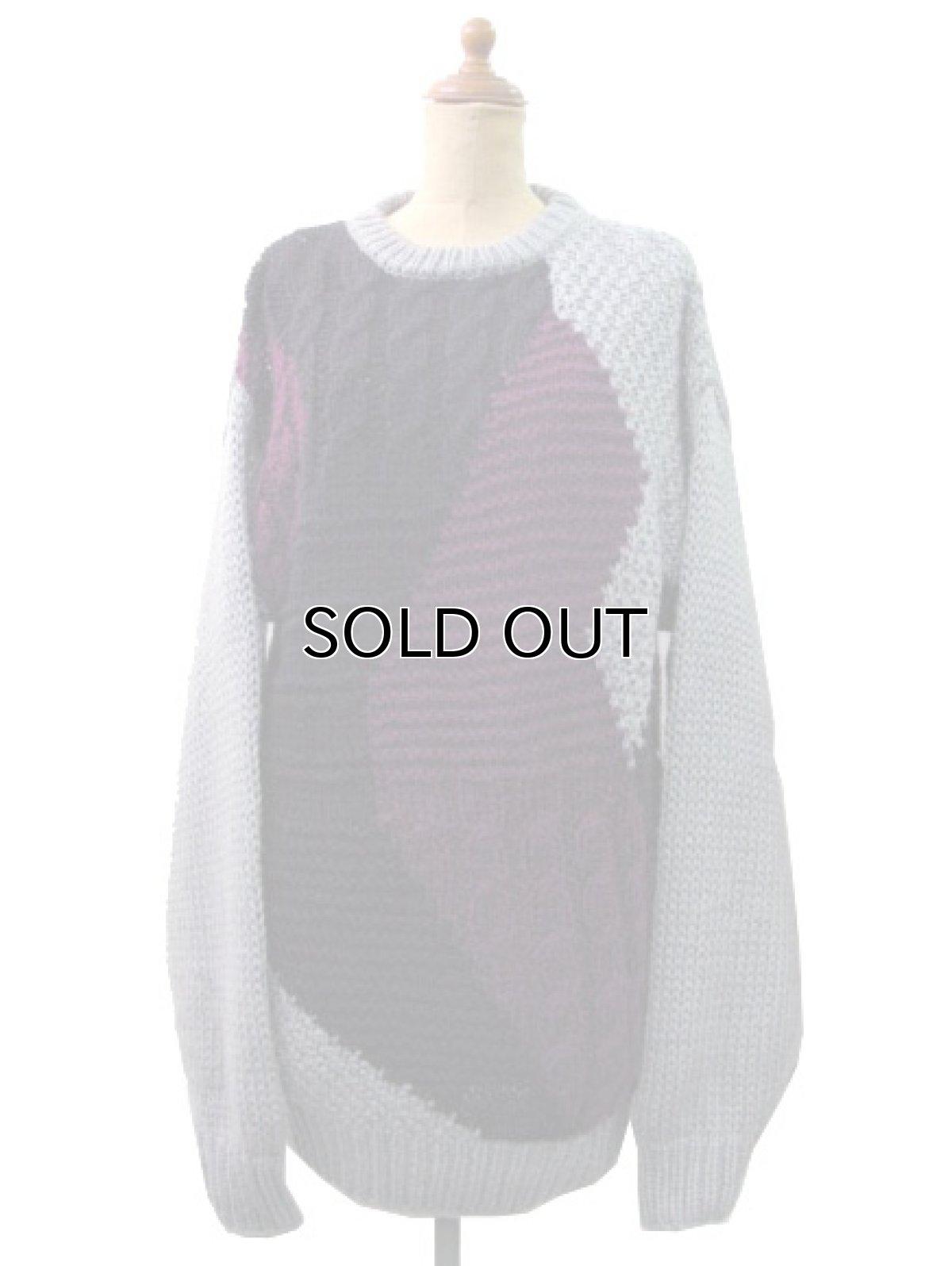 """画像1: 1980's """"FORUM"""" Design Pullover Sweater  GREY/BLACK/PURPLE size L (表記 M) (1)"""