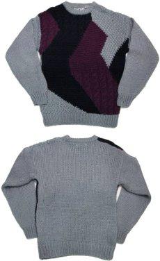 """画像3: 1980's """"FORUM"""" Design Pullover Sweater  GREY/BLACK/PURPLE size L (表記 M) (3)"""