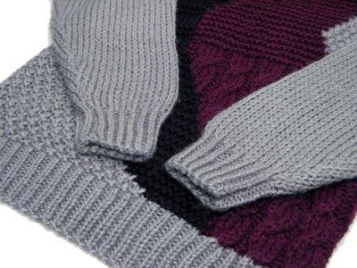 """画像1: 1980's """"FORUM"""" Design Pullover Sweater  GREY/BLACK/PURPLE size L (表記 M)"""